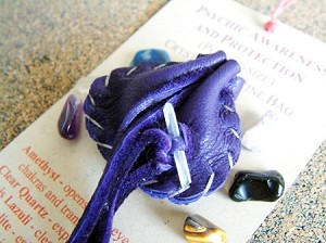 Psychic Awareness and Protection pocket-size Crystal Medicine Bag